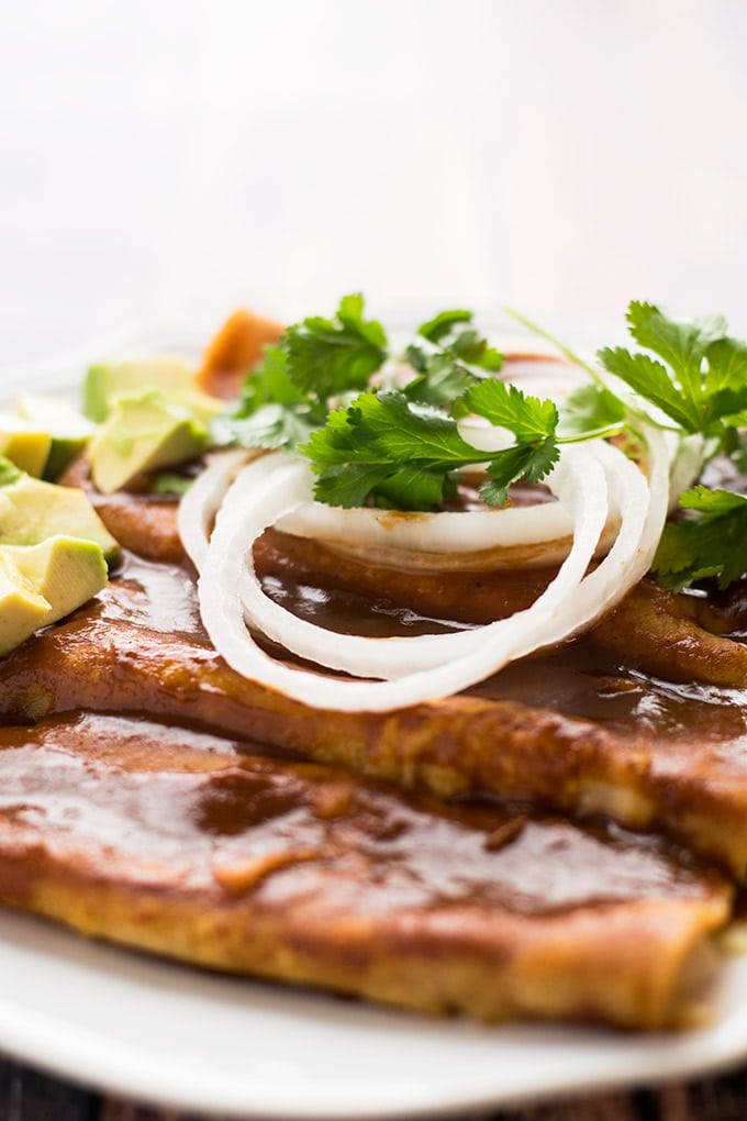 enchiladas with a spicy chocolate sauce