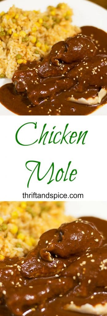 Easy and delicious chicken mole recipe. It is one of our favorite meals! #chicken #mexicanfood
