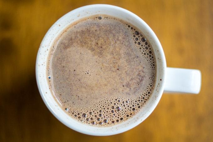 hot chocolate coffee in a white mug