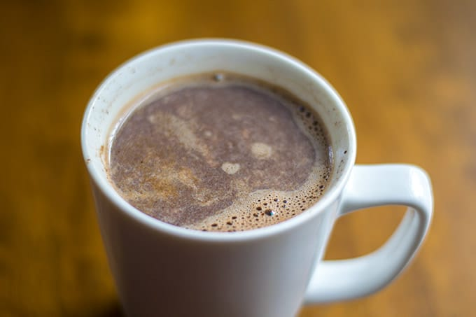 mexican hot chocolate coffee in a white mug