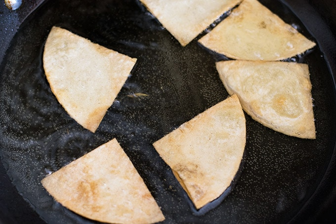 frying tortilla triangles