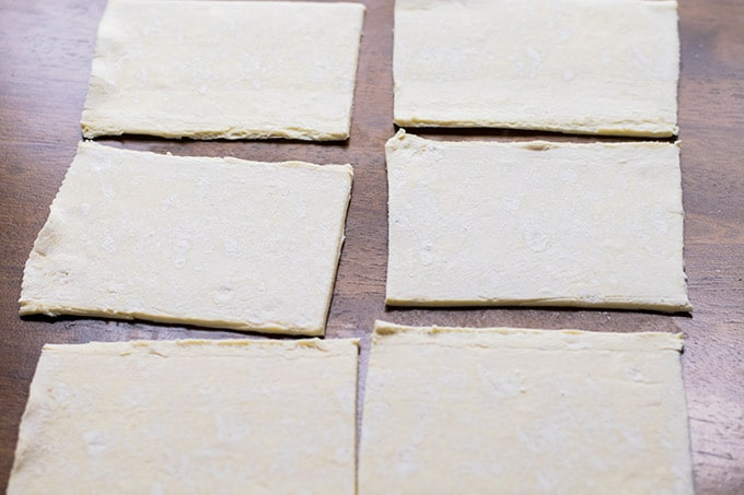 puff pastry cut into six equal squares