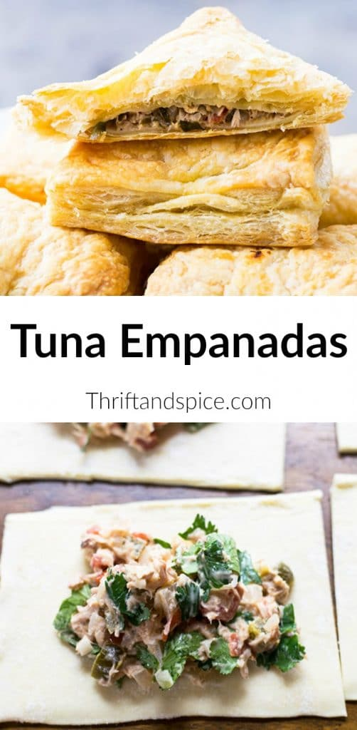 Delicious tuna empanadas made using frozen puff pastry