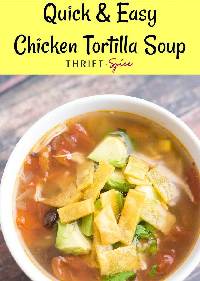 This chicken tortilla soup recipe is very easy and is perfect when you need to get dinner on the table now.