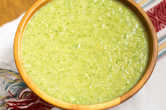salsa verde goes perfectly with all of your favorite mexican dishes such as tamales, tacos, enchiladas, gorditas and more!