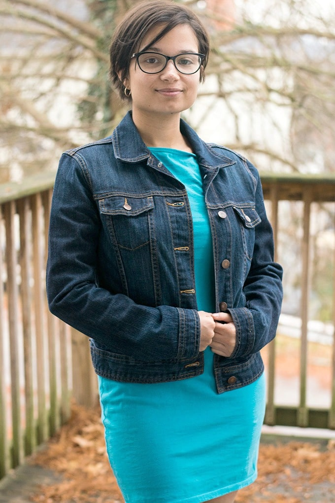 dress and jean jacket from thredup #ad
