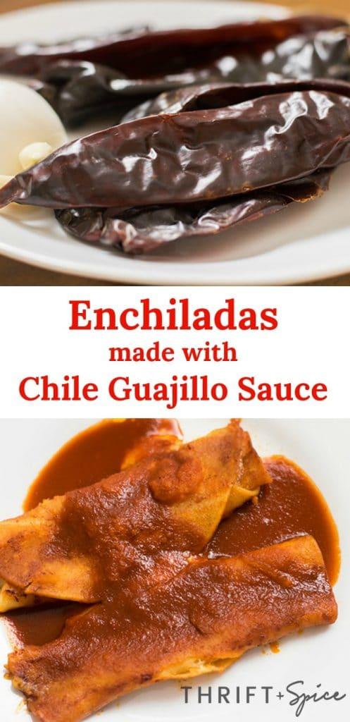 enchiladas made with chile guajillo sauce