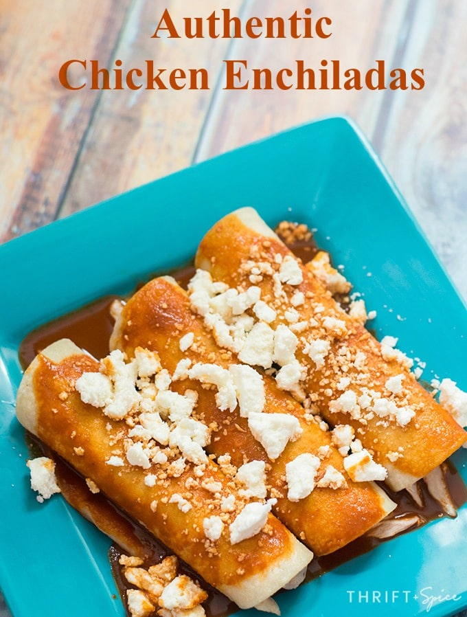 authentic chicken enchiladas with queso fresco on a blue plate