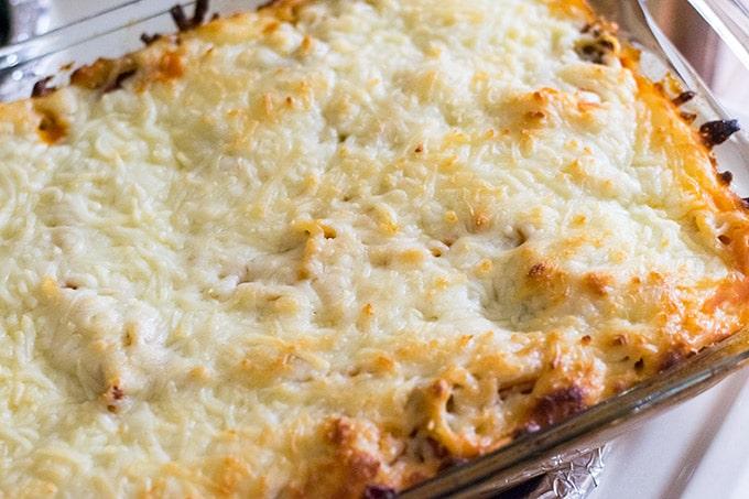 baked spaghetti in casserole dish