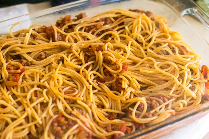 spaghetti in casserole dish