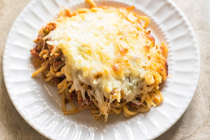 baked spaghetti on white plate