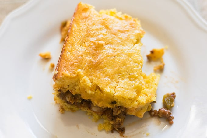 easy mexican cornbread on white plate