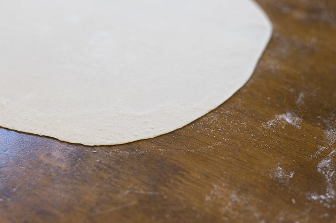 rolled out dough for bunuelos