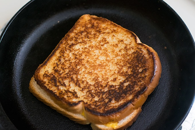 grilled cheese in cast iron skillet