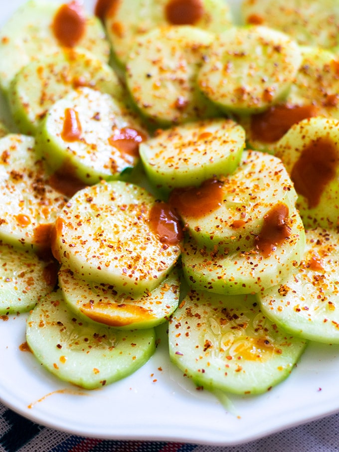 cucumbers with lime, salsa and chile