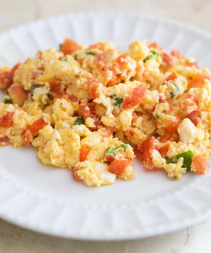 huevos pericos on a white plate