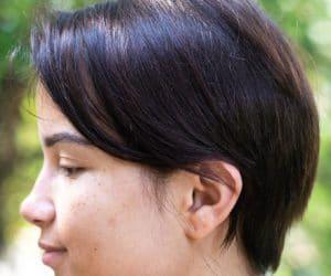 a pixie cut