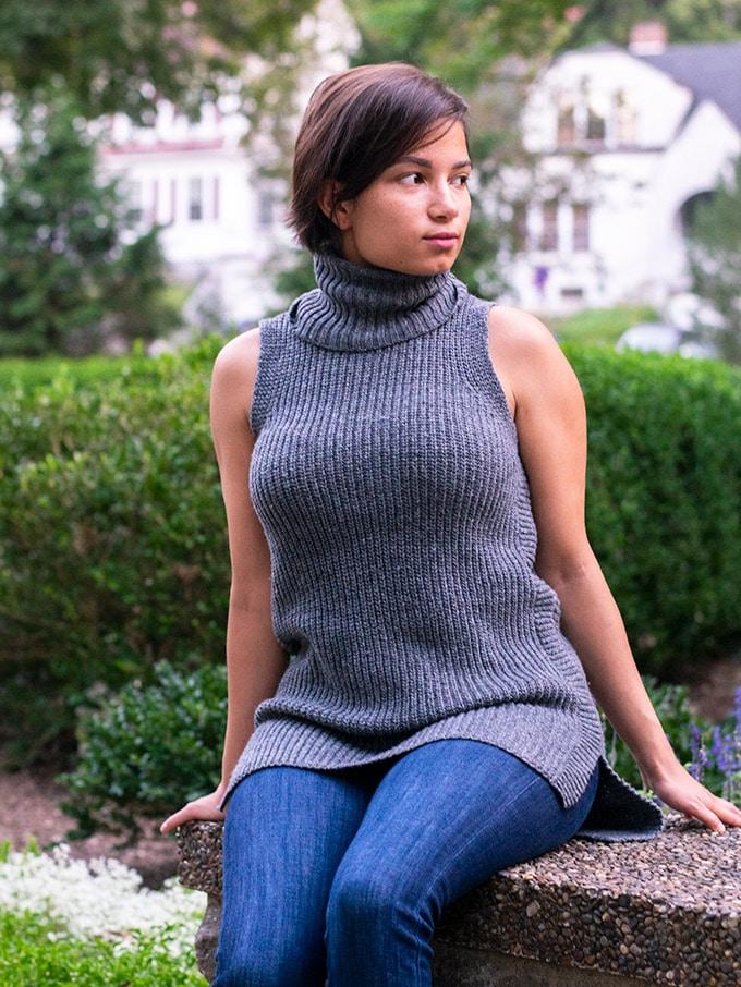 gray sleeveless sweater