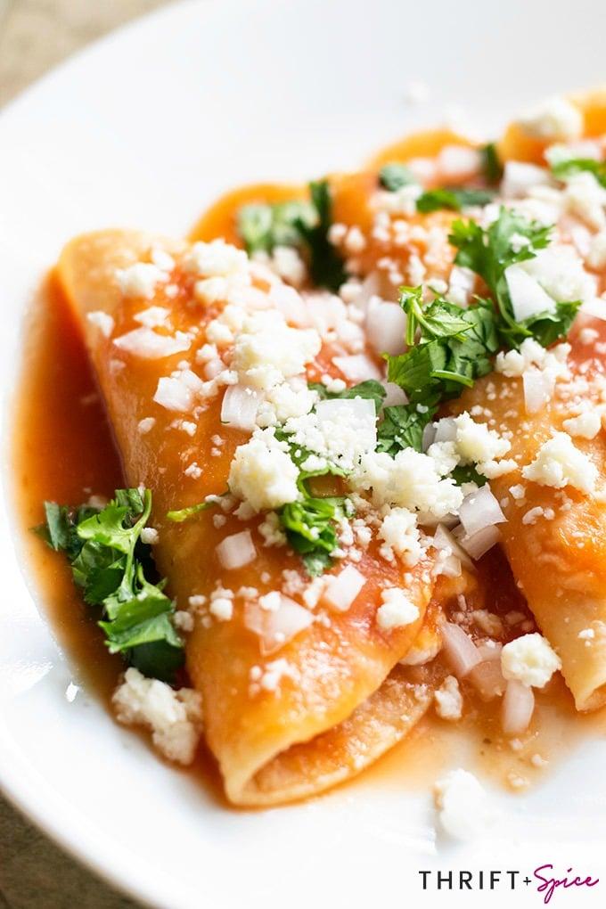 entomatadas on a white plate