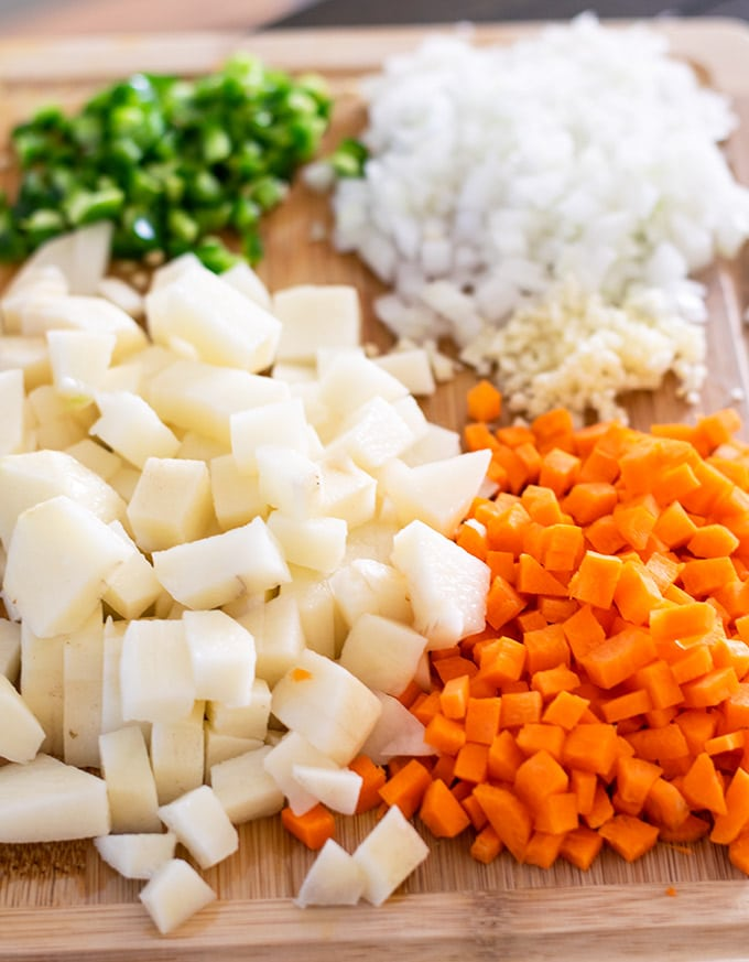 Diced vegetables for Mexican picadillo