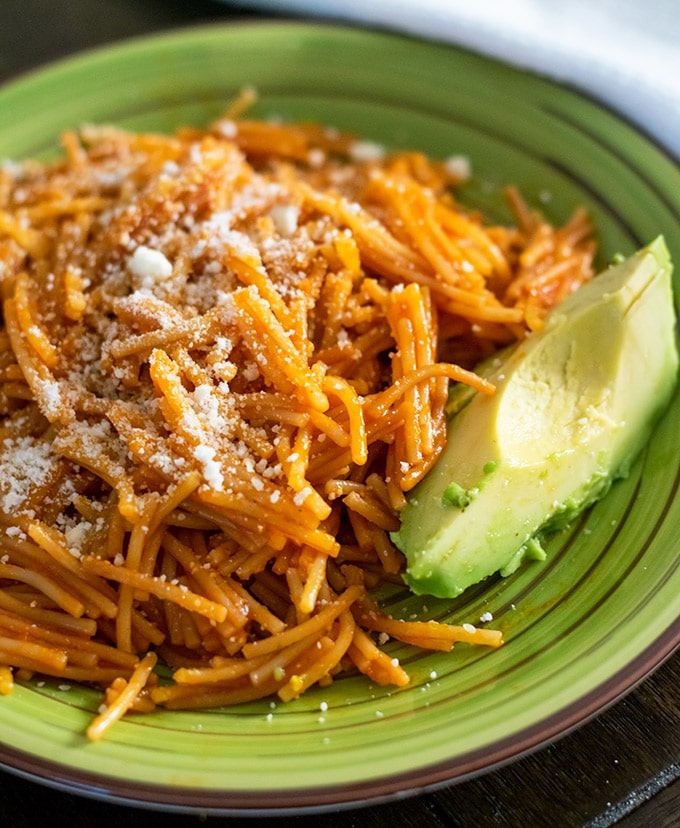 fideo seco with parmesan cheese and avocado