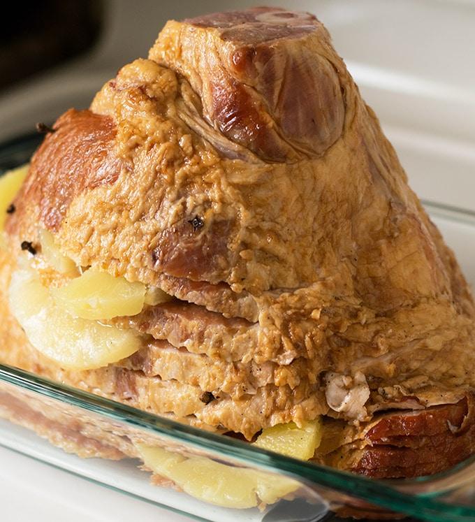 Ham in a casserole dish