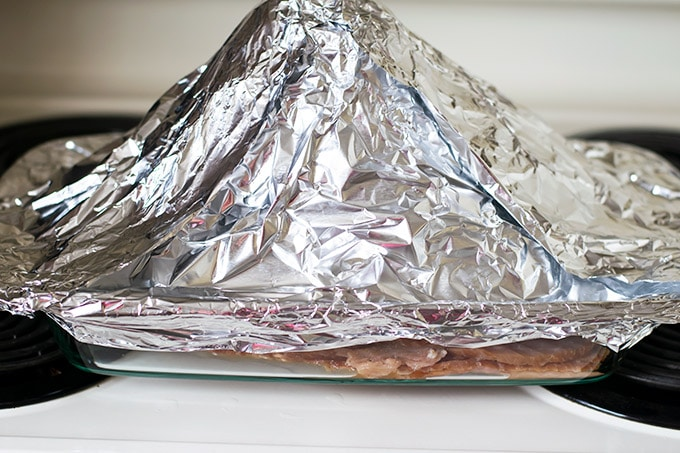 ham covered with foil