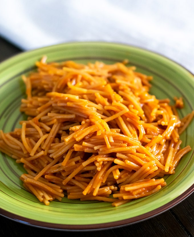 fideo seco on a green plate
