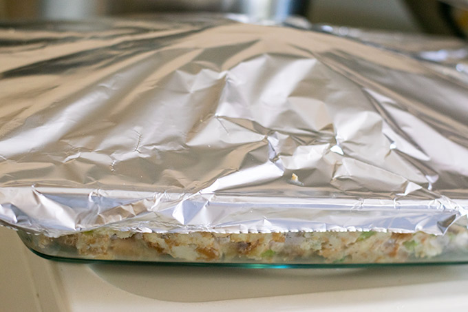 casserole dish covered with foil