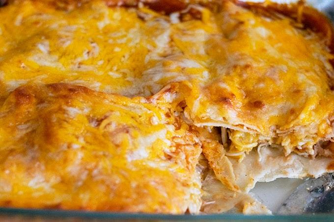 cooked chicken enchilada casserole