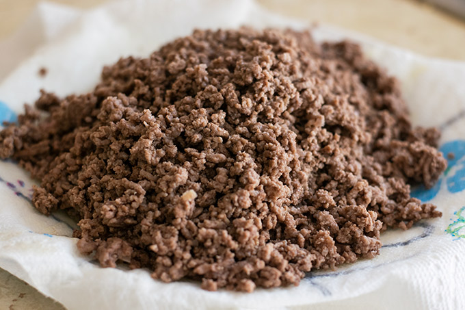 drained ground beef
