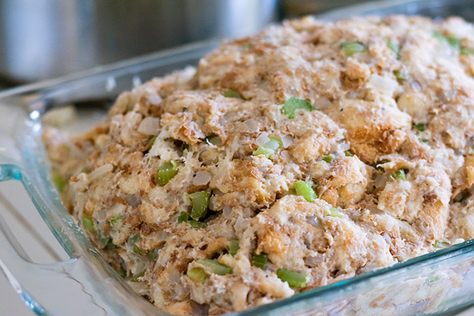 thanksgiving stuffing in a casserole dish