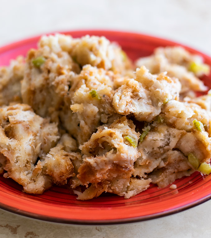 thanksgiving stuffing on a plate