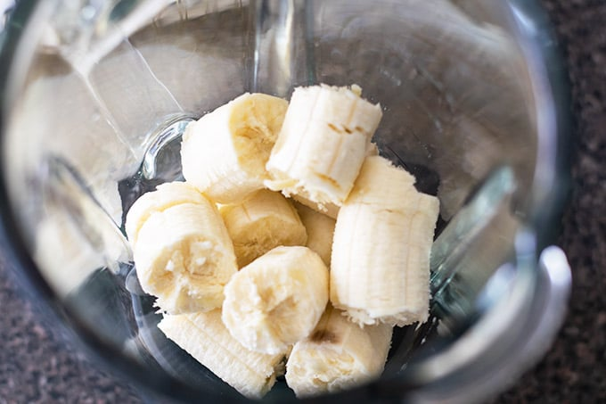 pieces of bananas in a blender