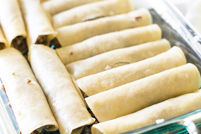 baking dish filled with enchiladas
