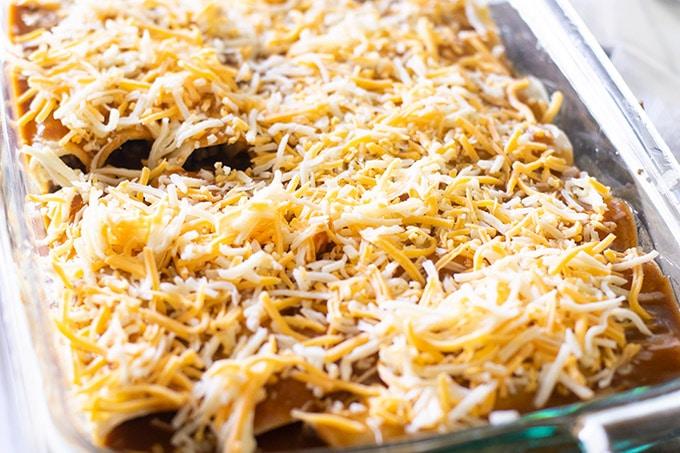 ground beef enchiladas before baking