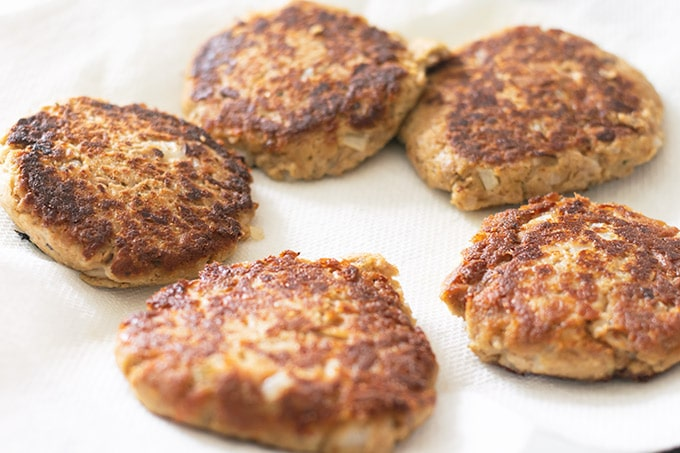 tuna patties on a paper towel lined plate
