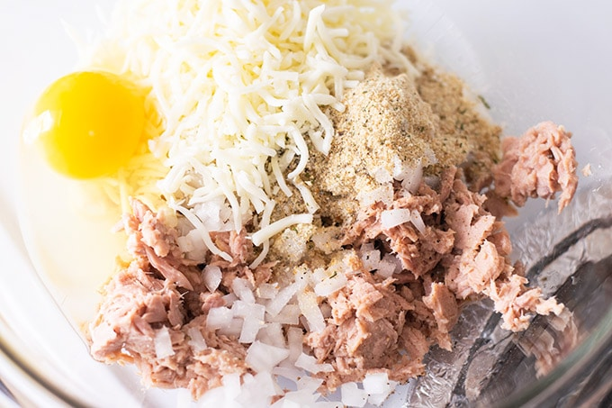 tuna patty ingredients in a bowl
