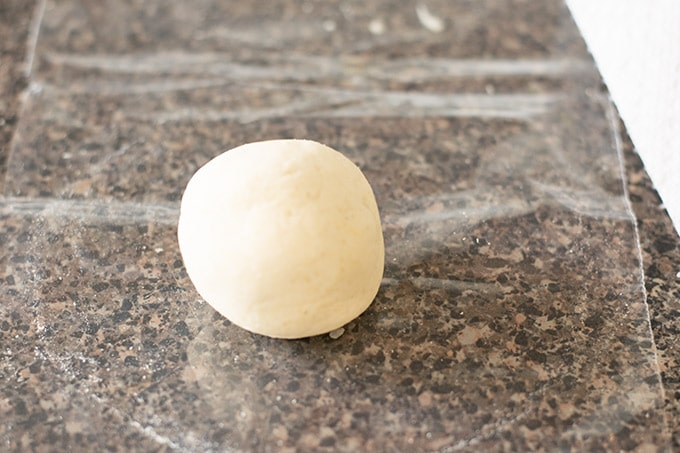 dough ball on a piece of plastic