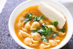 Sopa de Conchas (Mexican Shell Pasta Soup)