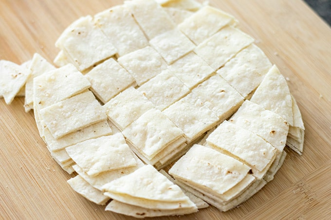 tortillas cut into squares