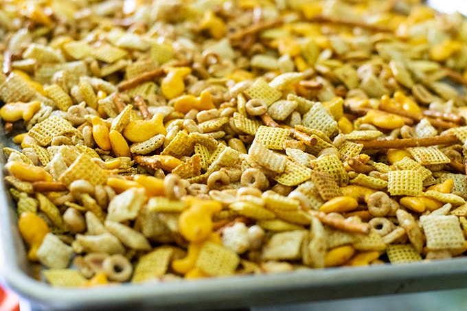 chex mix before baking