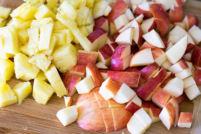 diced apples and pineapple
