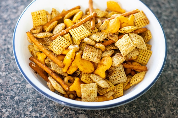 homemade chex mix in a bowl