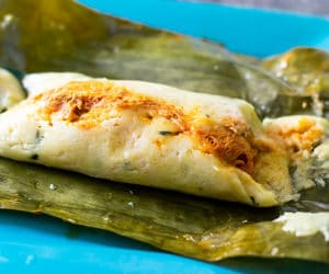 banana leaf tamal on a plate