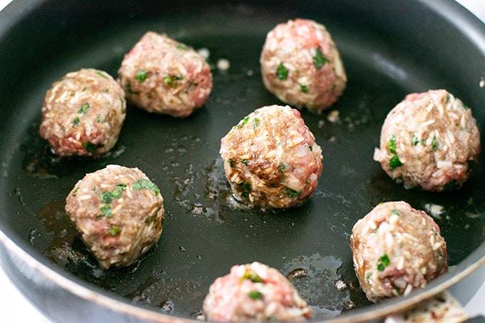 browned meatballs