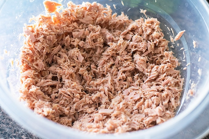 drained canned tuna in a bowl