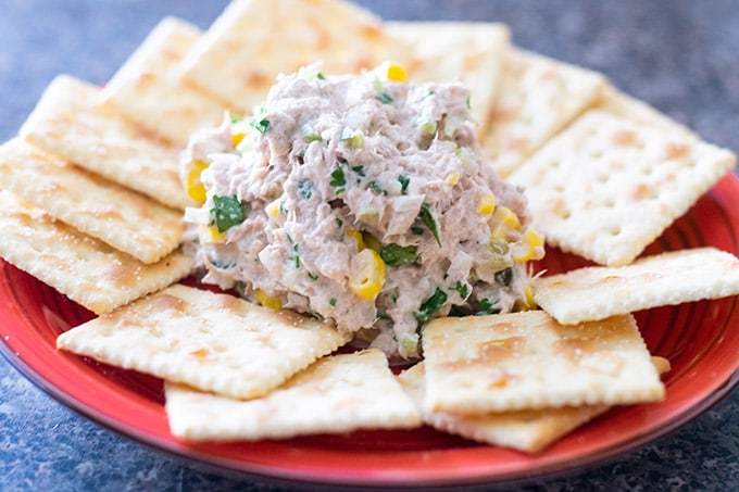 tuna salad on a plate with crackers