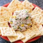 mexican tuna salad on a plate with crackers