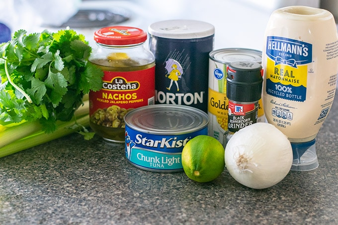 ingredients for mexican style tuna salad